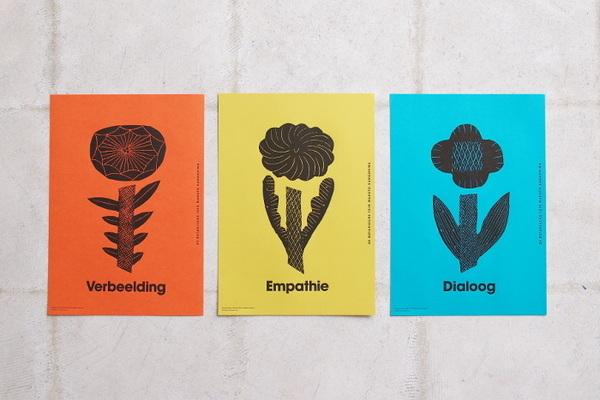 poster set 3 bloemen