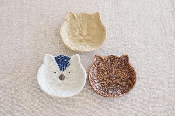 倉敷意匠/猫の陽刻豆皿