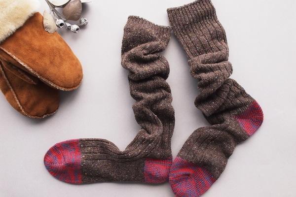 salvia/ざっくり編みくつした
